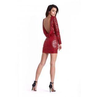 Robe de Soirée Courte Rouge à Paillettes 124866