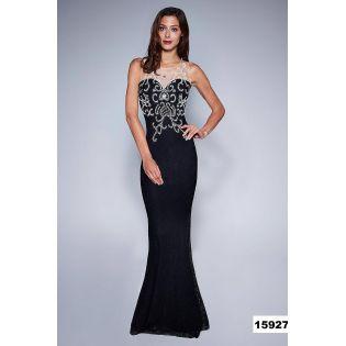 Longue Robe de Soirée Fourreau Dentelle Noire 124627