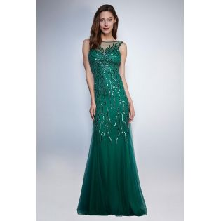 Splendide Robe de Soirée Longue Vert d'Eau