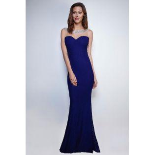 Robe de soirée bustier longue bleue nuit 124679