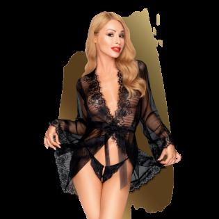 Déshabillé sexy court noir transparent