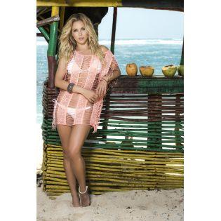 Beach dress coral 7792