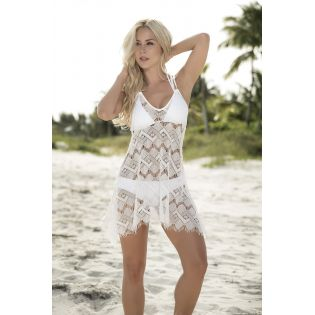 Cover up beach dress ivory 7858